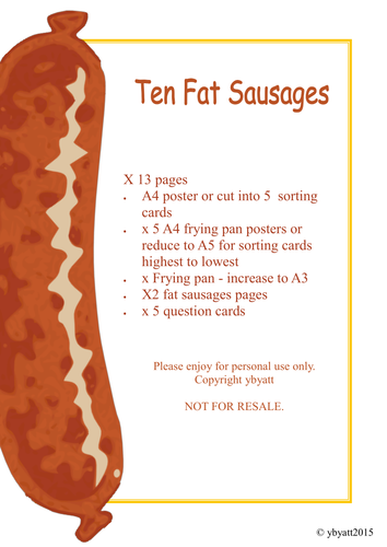 TEN FAT SAUSAGES - PRINTABLE ACTIVITY AND GAMES - FOCUS: SUBTRACTION/ TWO LESS