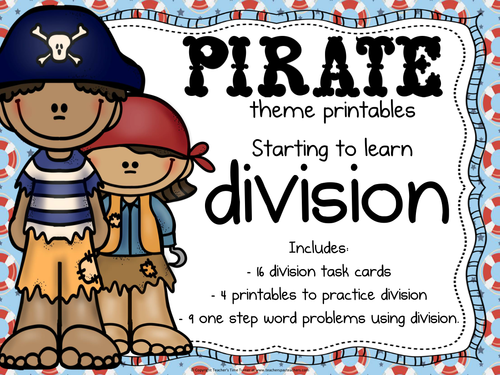 Division printables - Pirate themed