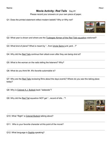 Movie Activity Red Tails By Tlc34e Teaching Resources Tes