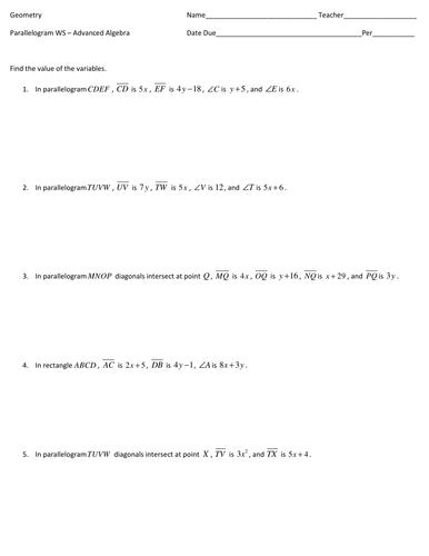 Parallelogram Worksheet -- Advanced Algebra