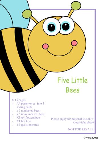 FIVE LITTLE BEES ACTIVITY & QUESTION CARDS - FOCUS SUBTRATION/ONE LESS