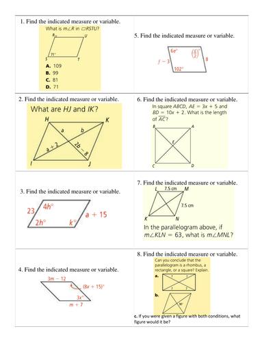 Quadrilaterals -- Algebra Practice Cards