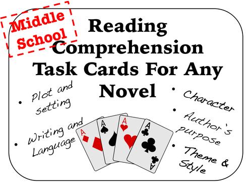 Reading Comprehension Task Cards For Any Novel