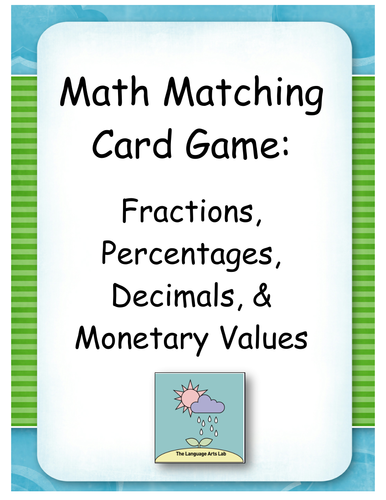 Maths Matching Game ~ Fractions, Decimals, Percentages & Money Values Conversion