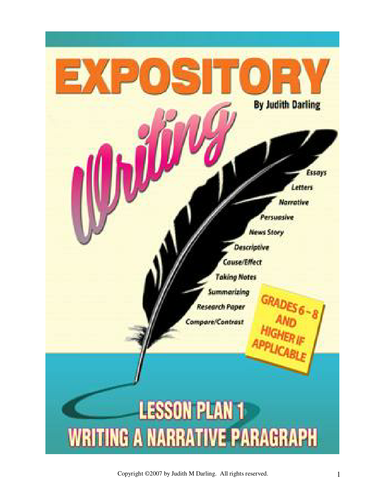 EXPOSITORY LESSON PLAN 1 - Writing a Narrative Paragraph