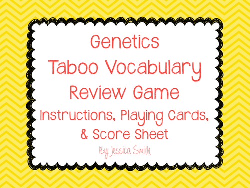 Genetics Taboo Vocabulary Review Game By Smithscienceandlit