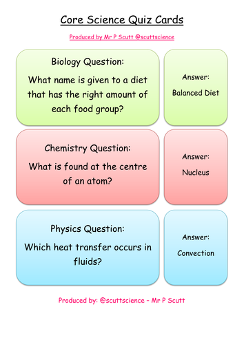 Core science quiz cards - Chemistry, Physics & Biology (B1 ...