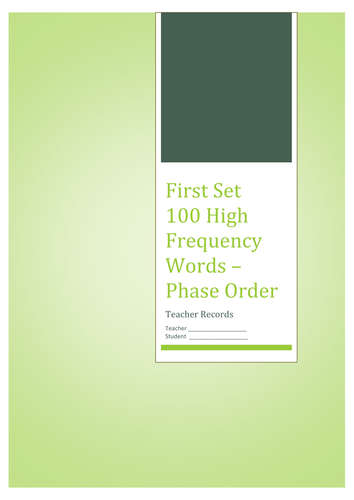 High Frequency Words: Assessment Record Sheets