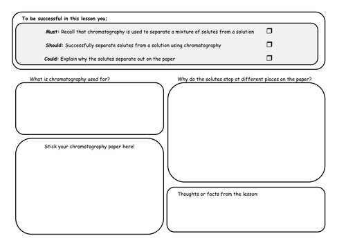 Chromatography Worksheet by Rachael Ann - Teaching Resources - TES