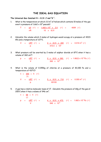 Ideal Gas equation by polarity24 - Teaching Resources - Tes