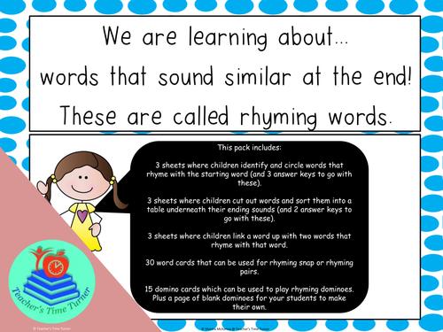 Rhyming words - CVC words
