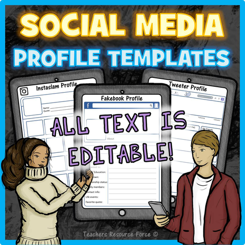 Social media profile templates editable by teachersresourceforce social media profile templates editable by teachersresourceforce teaching resources tes maxwellsz