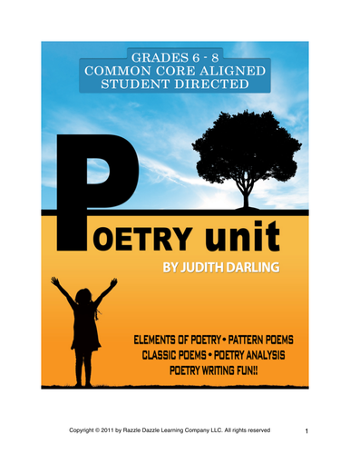 INTERACTIVE POETRY UNIT -  For grades 6 - 8, CC aligned, student graded