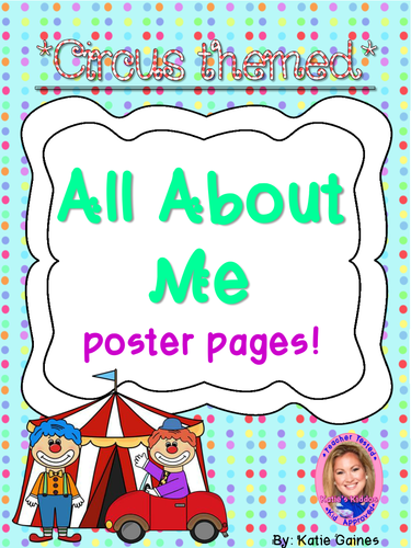 All About Me poster pages- CIRCUS themed