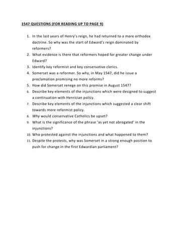 Edward VI - core content notes