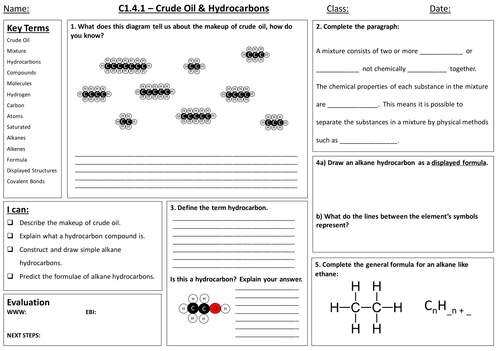 C27 Structure and properties of ionic compounds by almahad – Hydrocarbon Worksheet