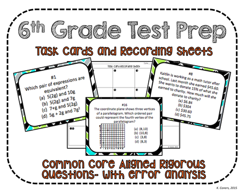 6th Grade Math Test Prep Task Cards + Recording Sheets- Common Core Aligned