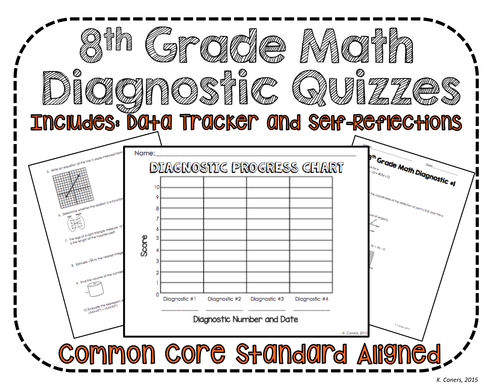 8th Grade Math Diagnostic Quizzes *Perfect for students to track & graph growth*