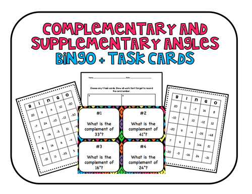 Complementary and Supplementary Bingo and Task Cards Common Core Aligned Review
