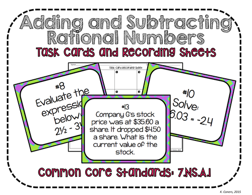 Adding Subtracting Rational Numbers Worksheet math 7 common core – Adding Subtracting Rational Numbers Worksheet
