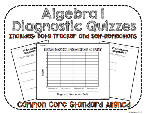 Algebra I Math Diagnostic Quizzes *Perfect for students to track & graph growth*