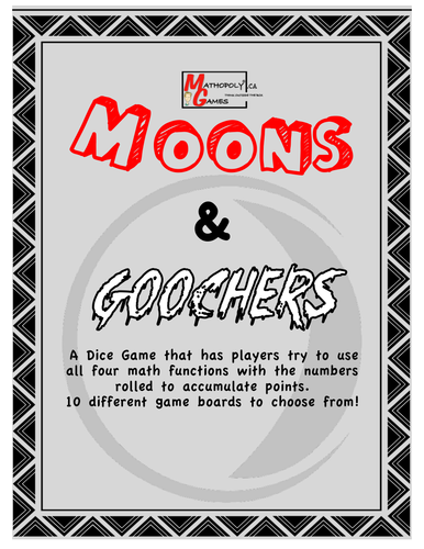 Moons N Goochers - Mental Math - Addition, Subtraction, Multiplication, Division, Dice Game
