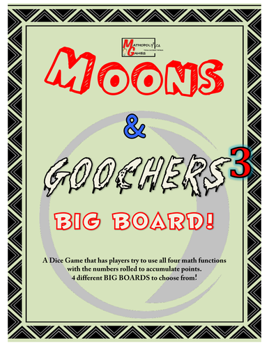 Moons N Goochers 3 - BIG BOARD - Addition, Subtraction, Multiplication, Division