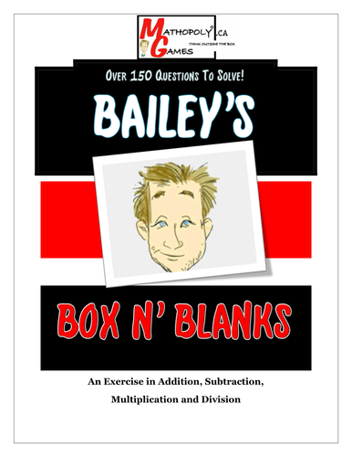 Box N Blanks - Addition, Subtraction, Multiplication, Division