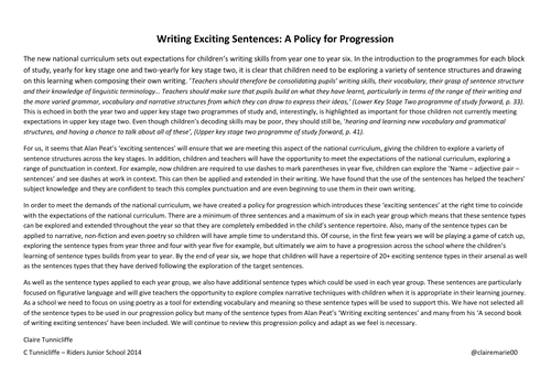 Alan Peat Writing Exciting Sentence Progression Policy