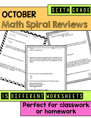 math spiral review worksheets october 6th grade math by katembee teaching resources tes. Black Bedroom Furniture Sets. Home Design Ideas