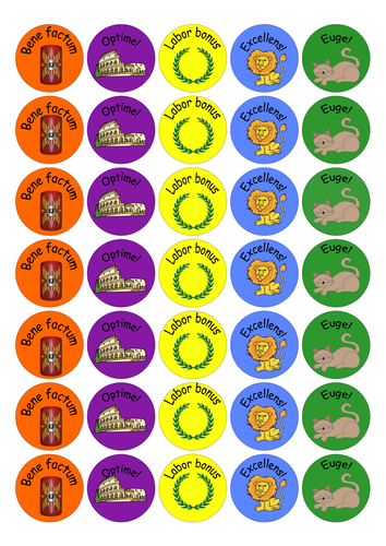 Latin and Romans Merit Stickers