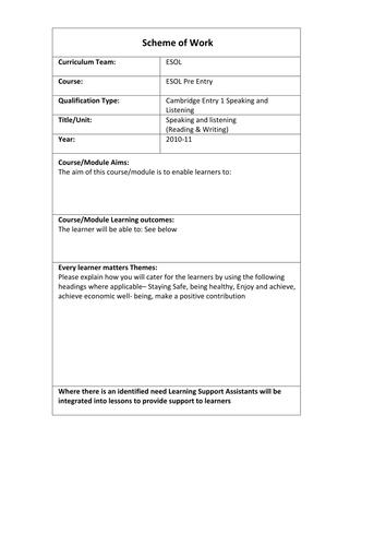 Pre Entry ESOL SoW Scheme of Work