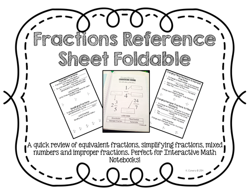 Fractions Reference Sheet Foldable- Perfect for
