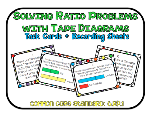 To the square inch math teaching resources tes solving ratio problems with tape diagrams task cards and recording sheets ccs 6 ccuart Images