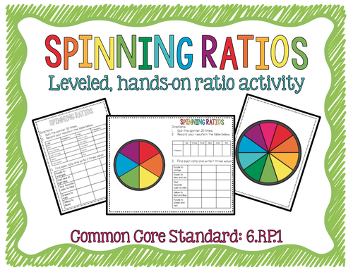 Spinning Ratios Leveled, Hands-on Ratio Activity, CCS: 6.RP.1