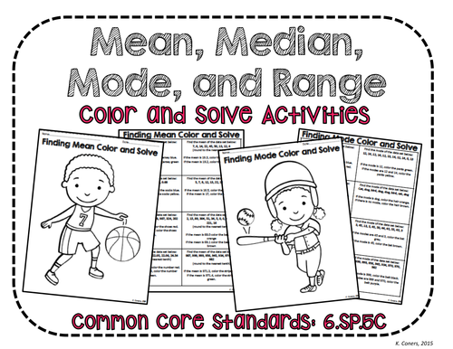 Range Mean Median and Mode Color and Solve No Prep Activities – Mean Median Mode and Range Worksheet