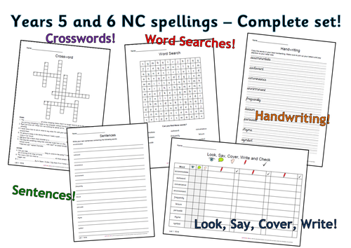 Y5 and Y6 National Curriculum Spellings - The Complete Set!