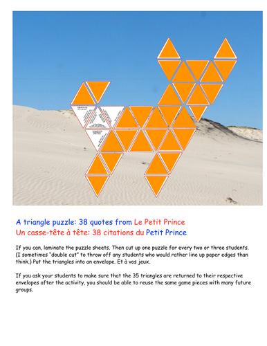 38 citations du Petit Prince (a triangle puzzle)