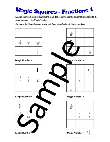 Magic Squares Fractions – Worksheets by NewMathWorld - Teaching ...