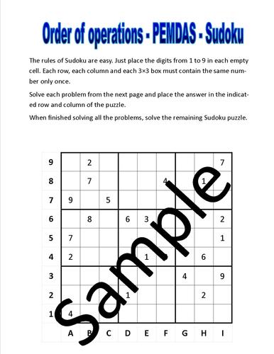 Order Of Operations Pemdas Sudoku Puzzle By Newmathworld