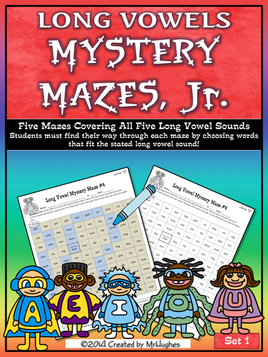 Long Vowel Mystery Mazes, Jr.