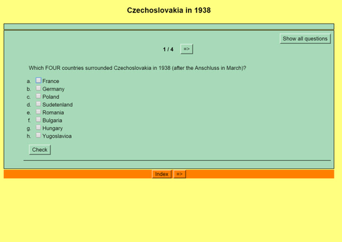 Origins of World War II: Quiz 11 - The Czechoslovakia Crisis