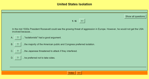 Origins of World War II: Quiz 16 - USA Isolation and Pearl Harbour