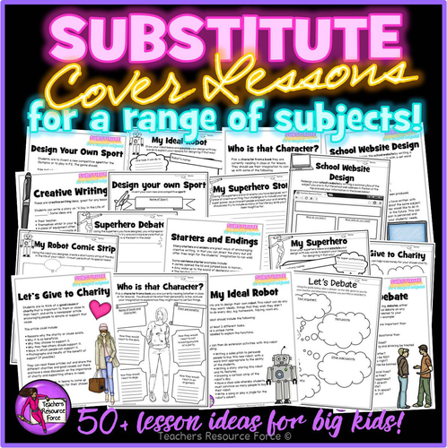 A Pack of Supply Cover Lesson Plans and Worksheets - no prep, ready to use, for any subject!