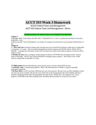 Acct553 Homework Es