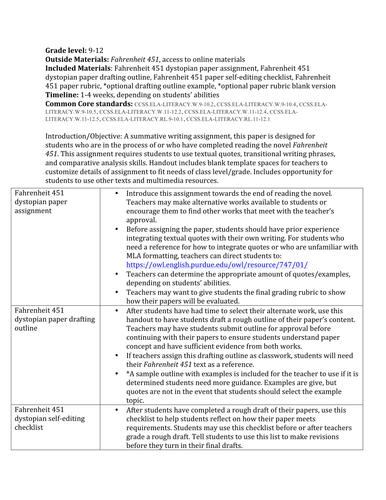 Fahrenheit 451 comparative paper