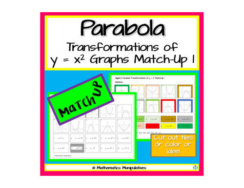 algebra parabola transformations of y x 2 graphs match up 1 by wardma teaching resources tes. Black Bedroom Furniture Sets. Home Design Ideas