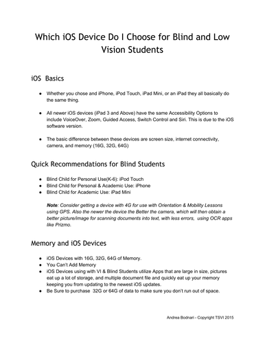Which iOS Device Do I Choose for Low Vision and Blind Students