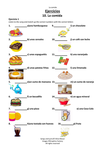 la comida song list of 17 different food items in spanish by smacor teaching resources tes. Black Bedroom Furniture Sets. Home Design Ideas