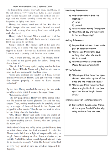 Four Story Extracts with Skill Specific Comprehension Questions Year